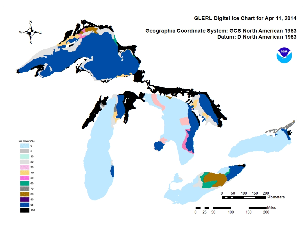 GLERL digital ice chart for Apr 11 2013