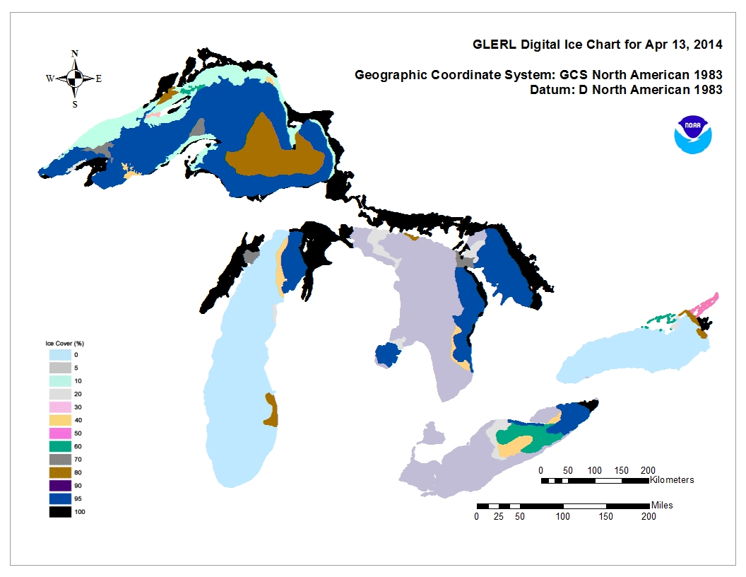 GLERL digital ice chart for Apr 13 2014