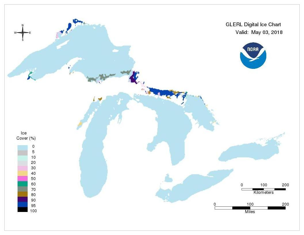 GLERL digital ice chart for May 03, 2018