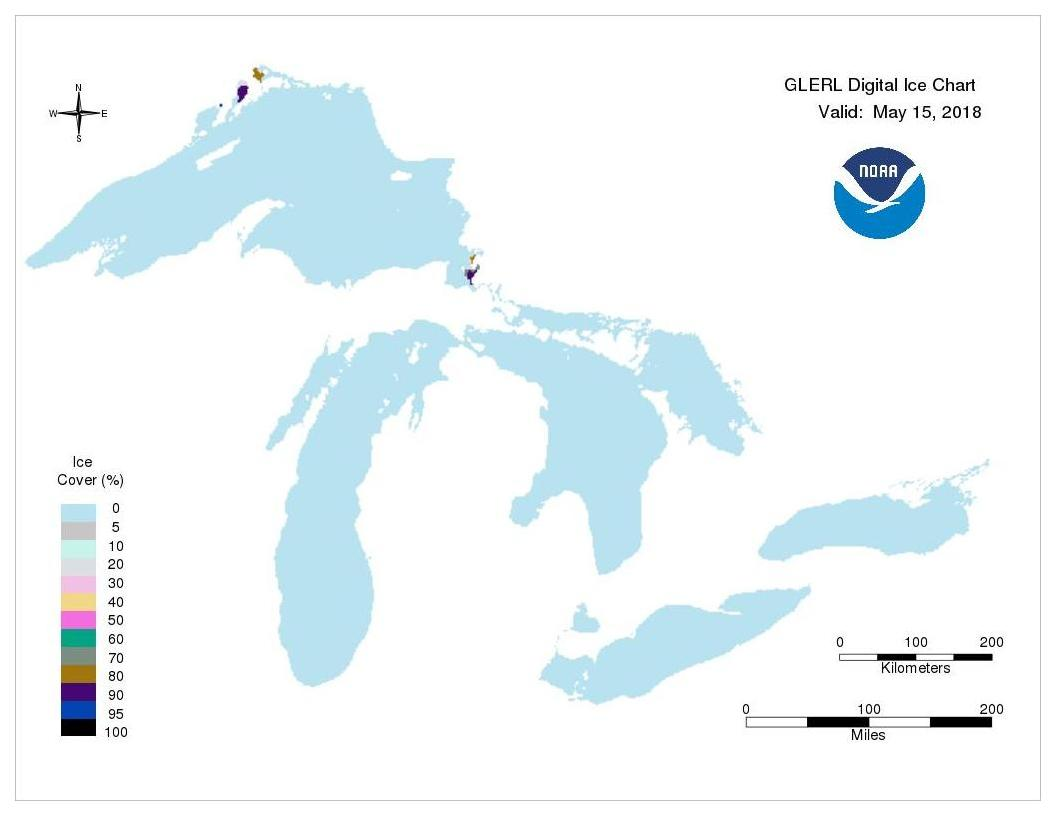 GLERL digital ice chart for May 15, 2018