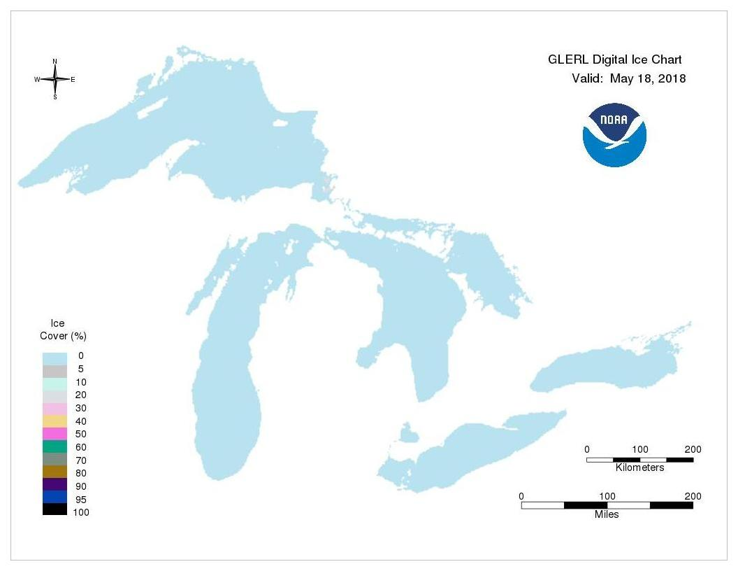 GLERL digital ice chart for May 18, 2018