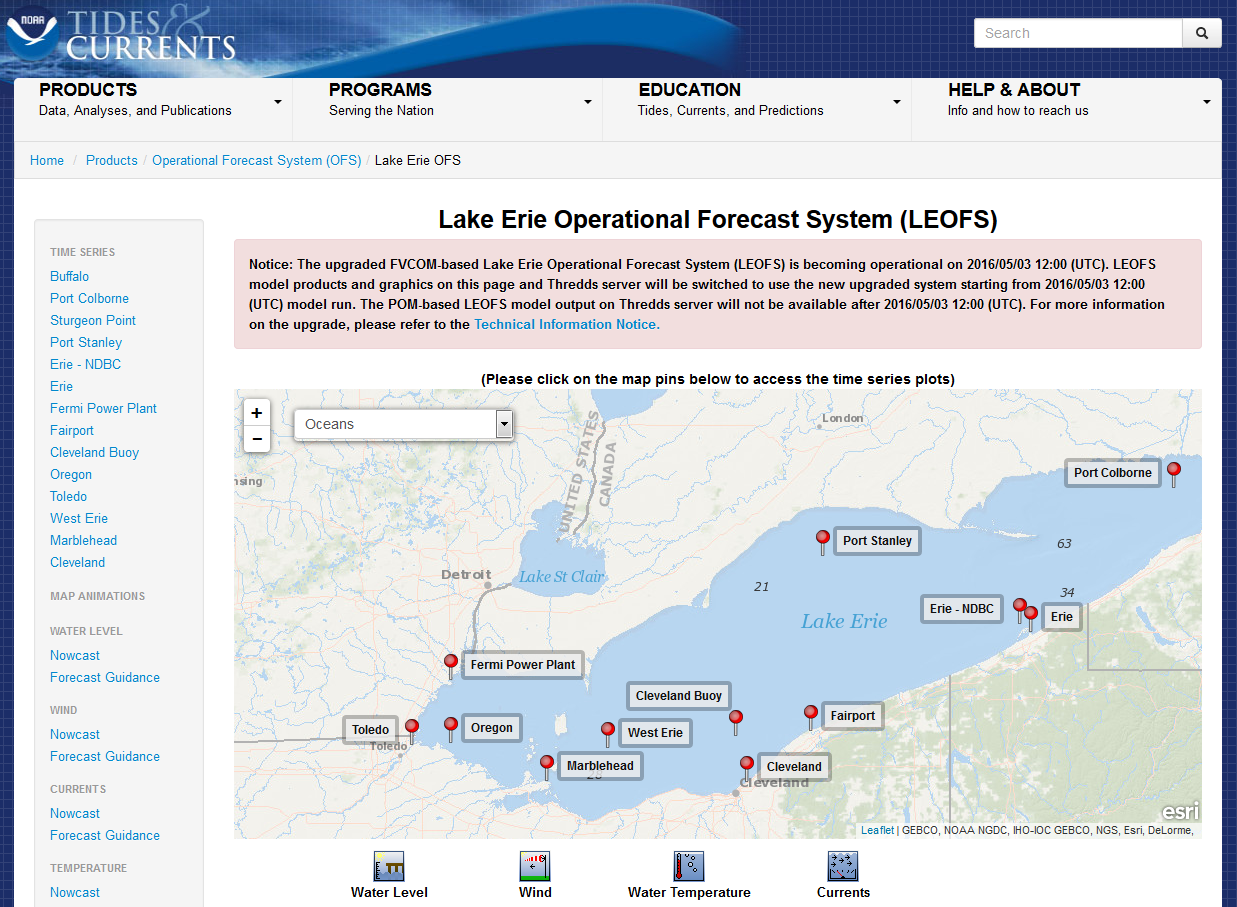 Water Levels: NOAA Great Lakes Environmental Research Laboratory