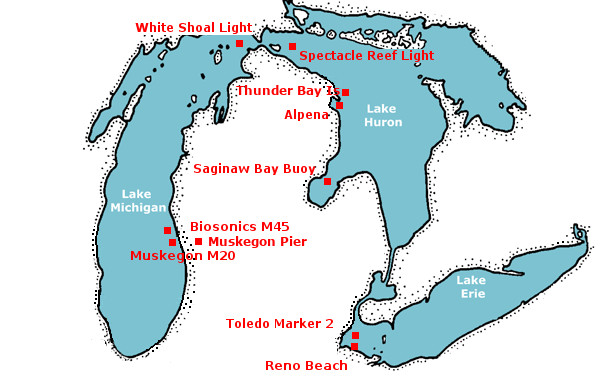 NOAAGLERL ReCON Station Map Index - Lake erie on us map